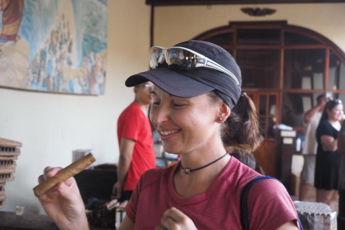 Nicaragua - Jo trying a cigar, Dona Elba Cigar tour, Granada, Nicaragua
