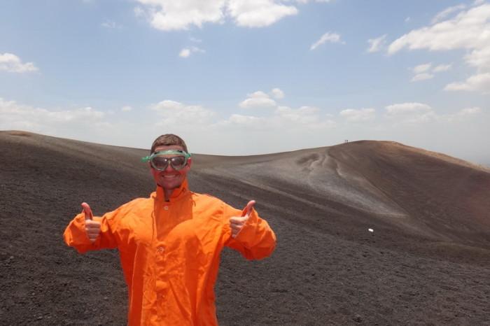 Nicaragua - David getting ready to volcano board down Cerro Negro Volcano
