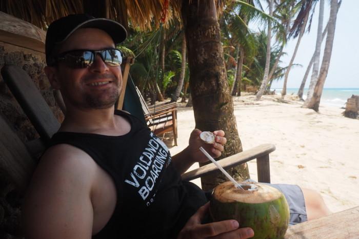 Nicaragua - Enjoying a cold coconut at Yemaya Hotel, Little Corn Island, Nicaragua
