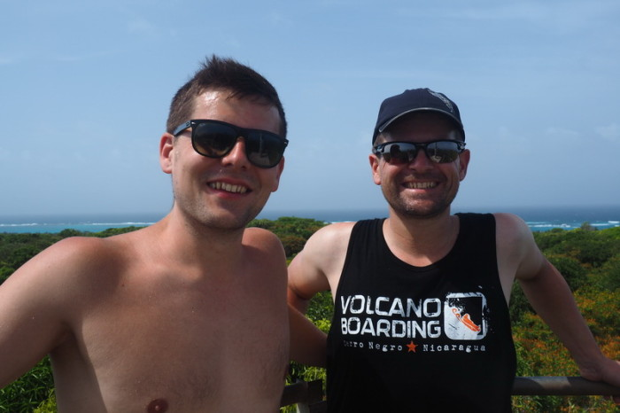 Nicaragua - Simon and David on top of the lighthouse, Little Corn Island, Nicaragua