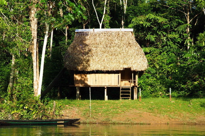 Amazon - Jungle hut on the edge of the Cuyabeno River