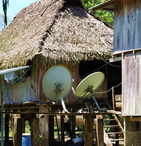 Amazon - The local community farm - rustic huts with satellite dishes!