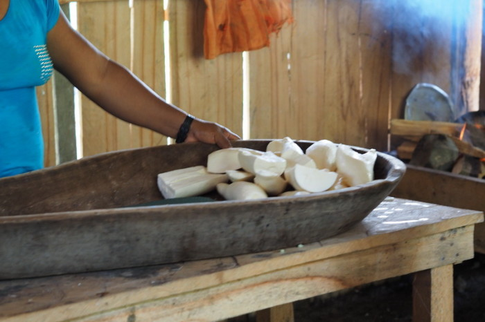 Amazon - Making bread out of yuca (a root vegetable) at the local community farm