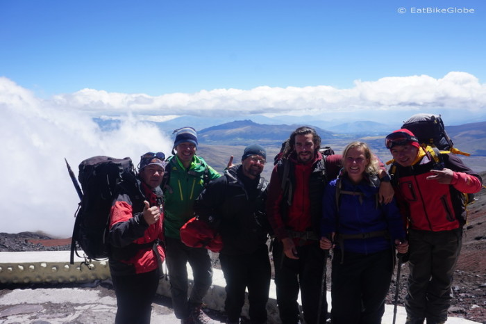 Ecuador - Group photo after the attempt to make it to the summit, Cotopaxi Refuge