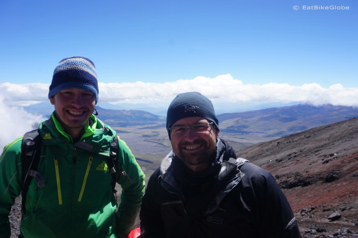Ecuador - Andre and David at the Cotopaxi Refuge