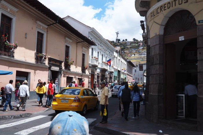 "Ecuador - El Panecillo and the statue of the ""Winged Madonna"", as seen from Quito's historic centre"