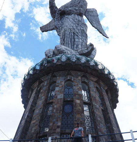 "Ecuador - David and the statue of the ""Winged Madonna"",  El Panecillo, Quito"