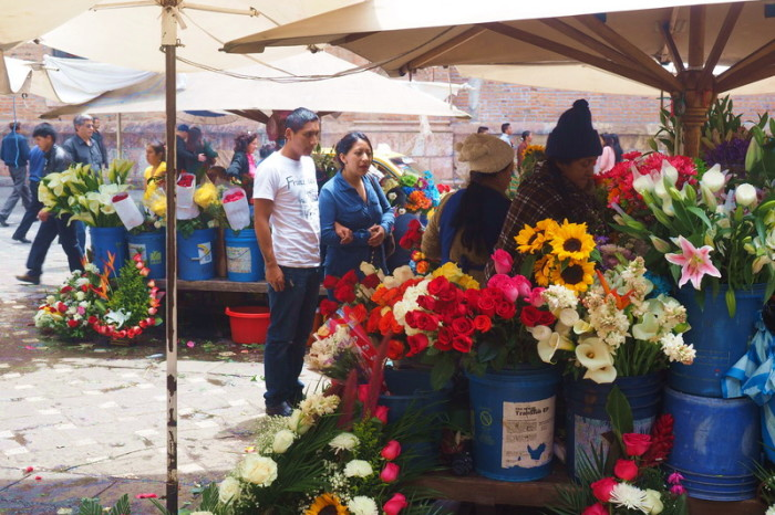 Ecuador - The flower market out the front of the Iglesia del Carmen de la Asuncion, Cuenca