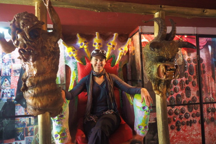 Ecuador - Jo on the throne, Museum of Extreme Art, Cuenca