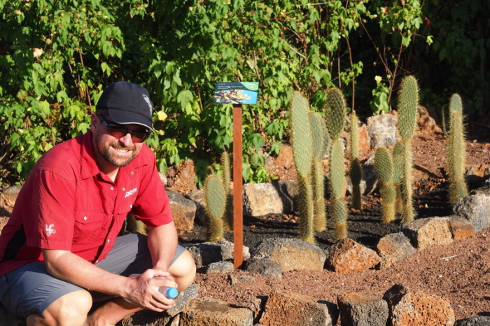 Galapagos - David and the cacti garden, Charles Darwin Research Centre, Santa Cruz Island