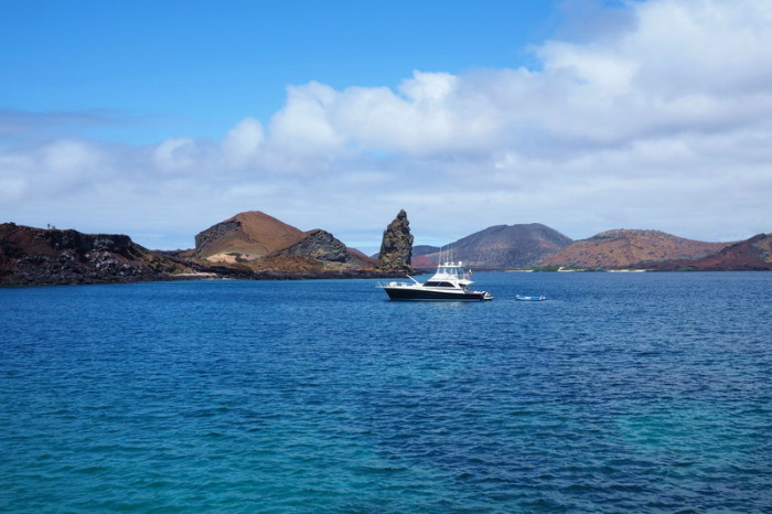 Galapagos - View of our boat from Bartolome Island