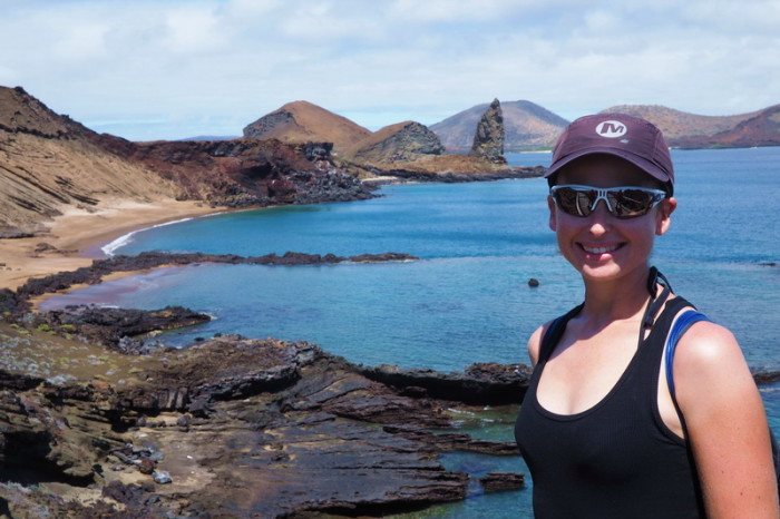 Galapagos - Climbing to the lookout on stunning Bartolome Island