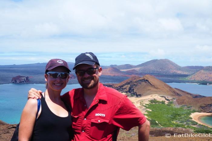 Galapagos - David and Jo at the lookout, Bartolome Island