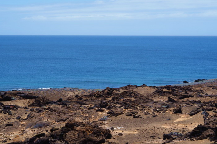 Galapagos - Not really visible in this pic, but we saw dolphins on our descent! Bartolome Island