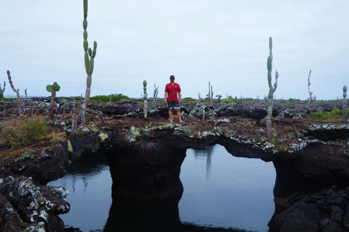 Galapagos - David on top of one of the Lava Tunnels, Isabela Island