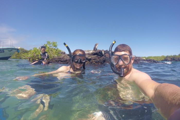 Galapagos - Jo, David and penguins!! Tintoreras, Isabela Island