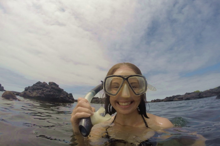 Galapagos - Jo enjoying snorkeling amongst the lava reefs, The Lava Tunnels, Isabela Island