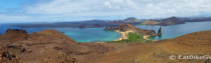 Galapagos  - Panorama of the view from the lookout on Bartolome Island - Bartolomé Island, Galapagos