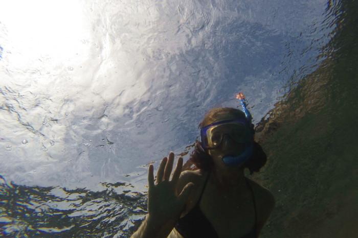 Galapagos - Jo snorkeling off Pinzon Island