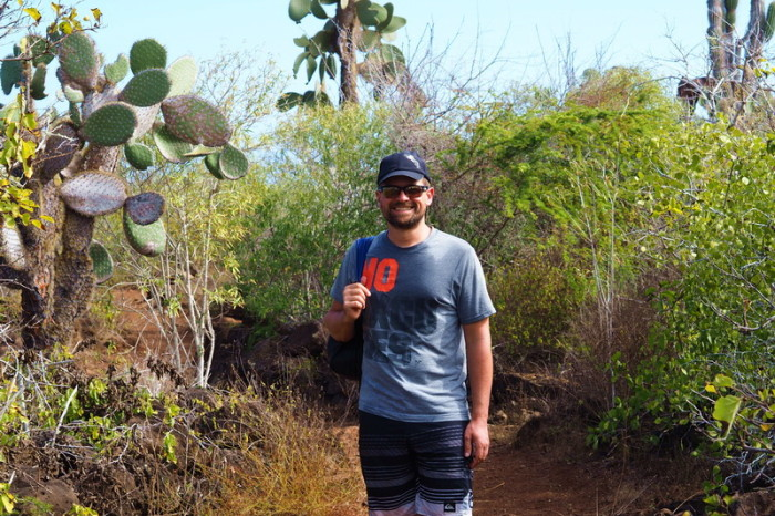 Galapagos - David walking to Los Perros Beach, Santa Cruz Island