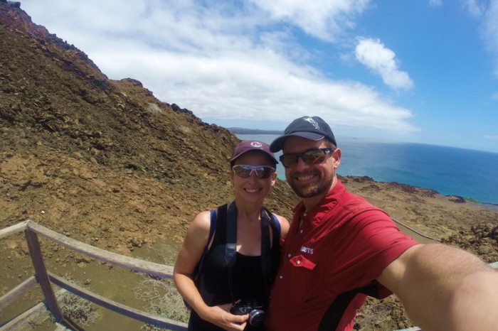 Galapagos - David and Jo climbing Bartolome Island