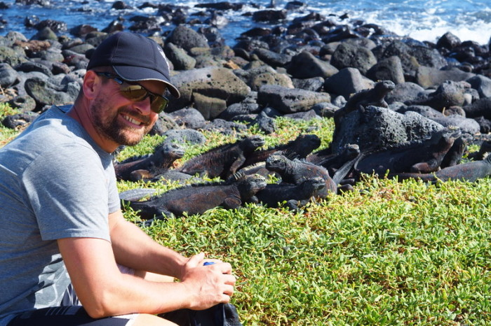 Galapagos - David and the Galapagos marine iguanas, Santa Cruz Island