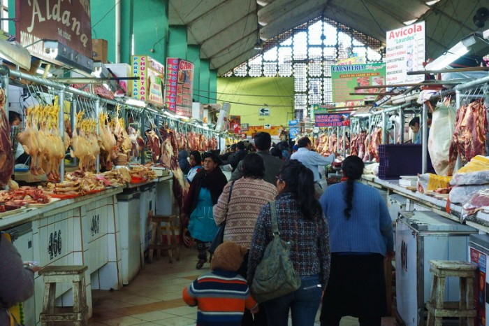 Peru - Meat aisle, Huancayo market