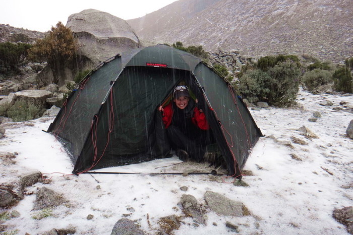 Laguna 69  - It started to hail when we arrived at the laguna - we have never put up our tent so fast!