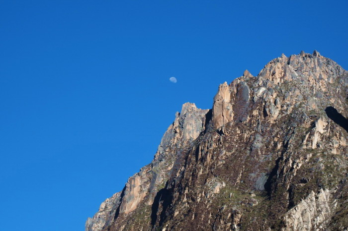 Santa Cruz Trek - The moon was still visible above our campsite while we were having brekkie on Day 4