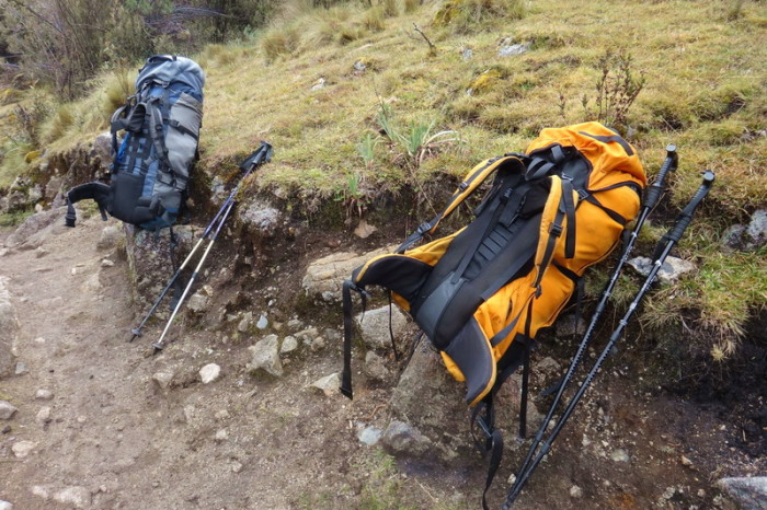 Santa Cruz Trek - Our backpacks - we were happy to take them off whenever possible