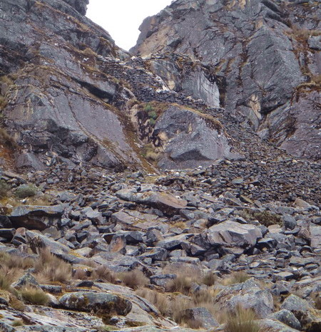 Santa Cruz Trek - Punta Union - reached by a stone staircase