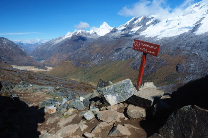 Santa Cruz Trek - The highest point of our trek - the Punta Union Pass at 4750m, with views of stunning Laguna Taullicocha