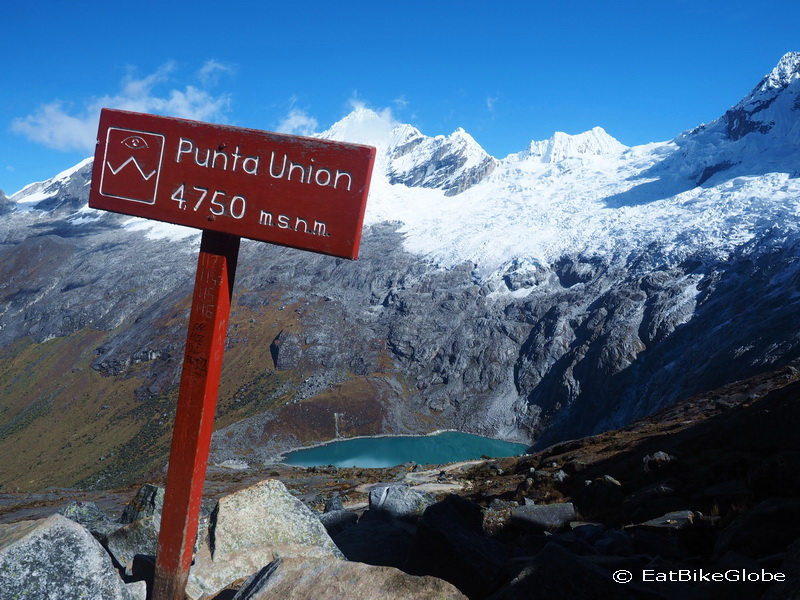 The highest point of our trek - the Punta Union Pass at 4750m, with views of stunning Laguna Taullicocha