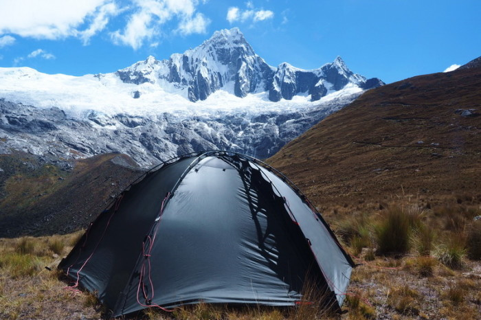 Santa Cruz Trek - Our spectacular campsite with views of Mount Taulliraju - it doesn't get much better than this!