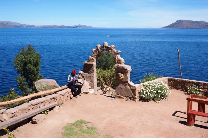 Peru - Knitting man, Taquile Island, Lake Titicaca