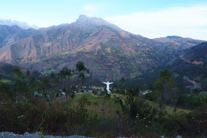 Peru - Statue of Jesus overlooking Huancarama