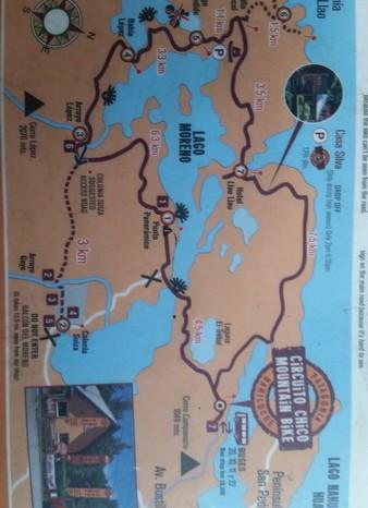 Argentina  - Map of the Circuito Chico, Bariloche