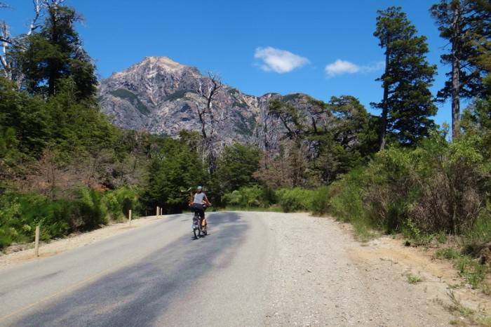 Argentina  - Jo cycling the Circuito Chico, Bariloche (hills are a breeze with no panniers!)