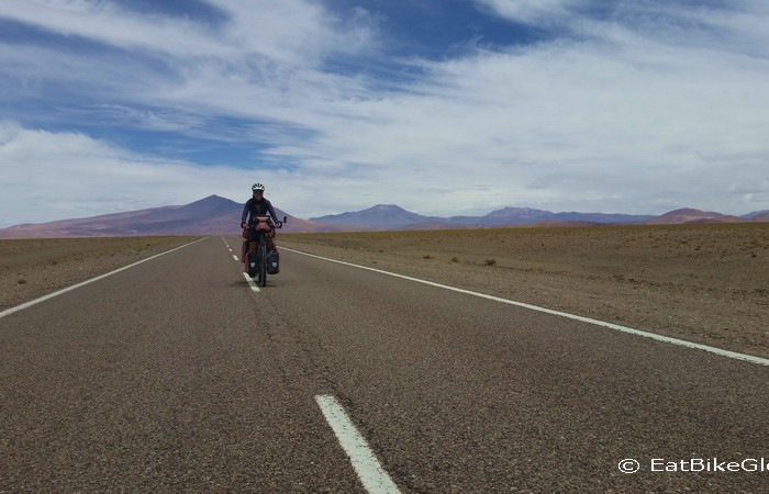 Argentina - Jo enjoying some flatish roads after the Jama Pass