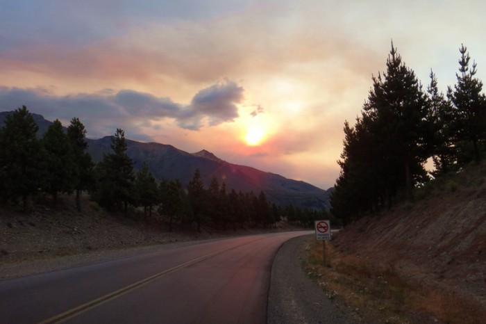 Argentina  - Cycling into Esquel, the sky was ablaze with smokey colour