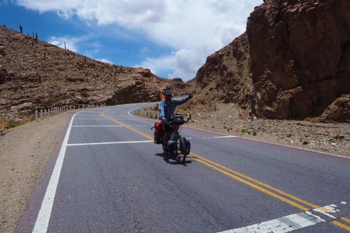 Argentina - David enjoying the descent through the canyon lands