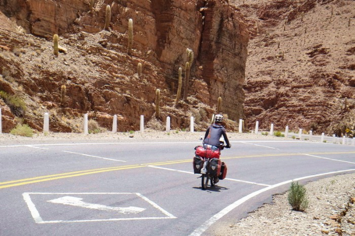 Argentina - Jo enjoying the descent through the canyon lands