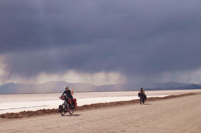 Argentina - A big storm chased us through the Salinas Grandes