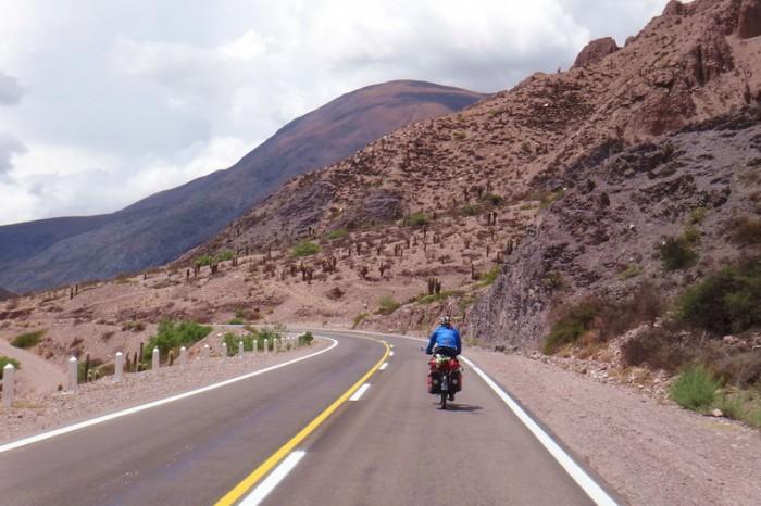 Argentina - Jo enjoying the descent from Cuesta de Lipan