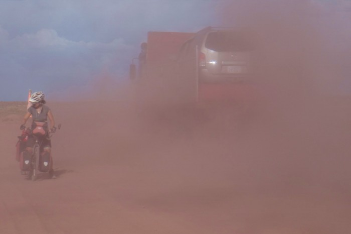Bolivia - The trucks created huge clouds of dust - it was difficult to cycle