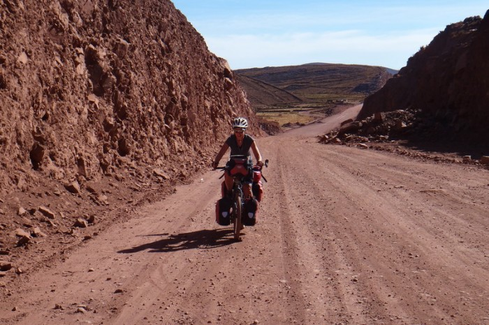 Bolivia - Jo on the new dirt road - yeah, no traffic!