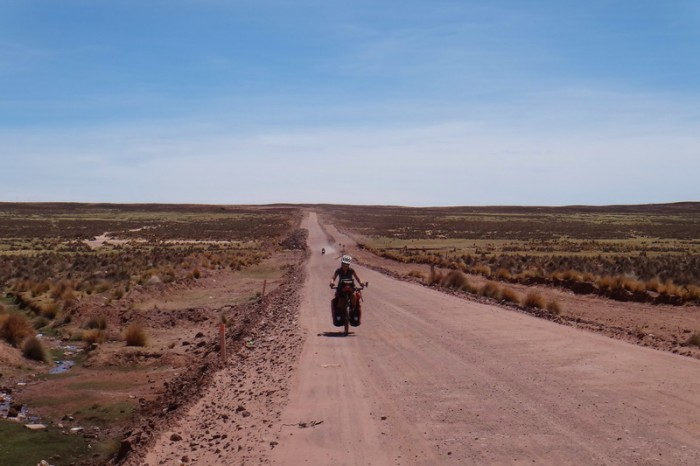 Bolivia - Jo on the dirt road to Ancaravi