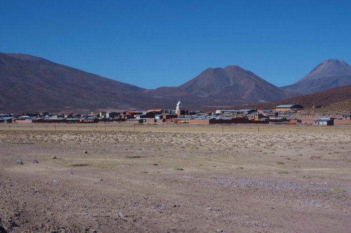 Bolivia - The little town of Sabaya in the distance