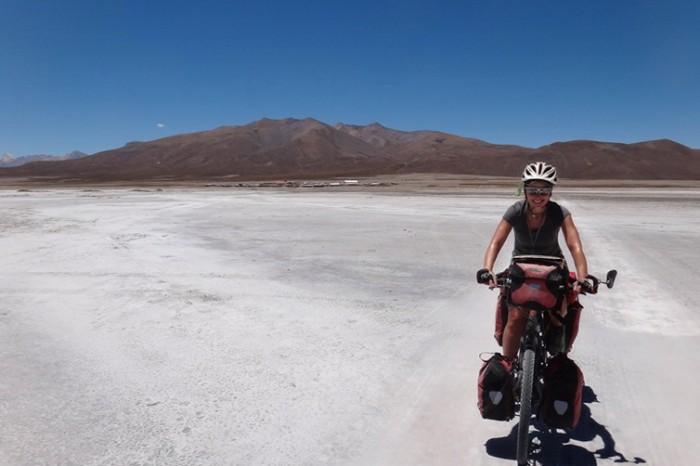 Bolivia - Jo crossing Salar de Coipasa
