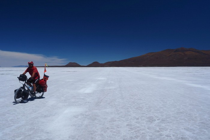 Bolivia - David crossing Salar de Coipasa